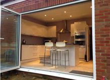 Ground floor extension kitchen installation, ground floor layout modified.