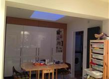 Interior wall taken down, skylight installed.