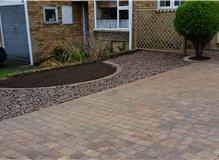 Attractive block driveway incorporating curved borders