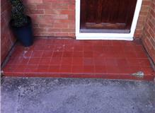 Quarry tiles laid in porch