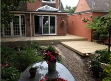 Large split level decking installation