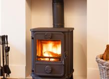 stove on glass hearth