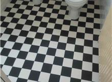 Flooring in bathroom.