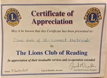 The Lions Club of Reading : Certificate of Appreciation