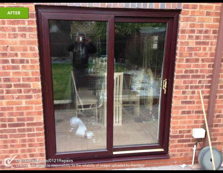 Patio doors fitted and 2 other doors and frames fitted.