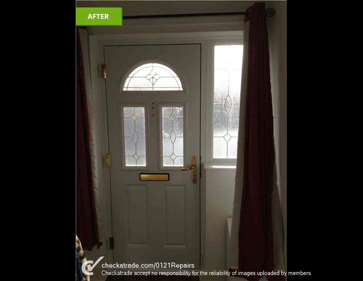 Window panels replaced to match glass in door.