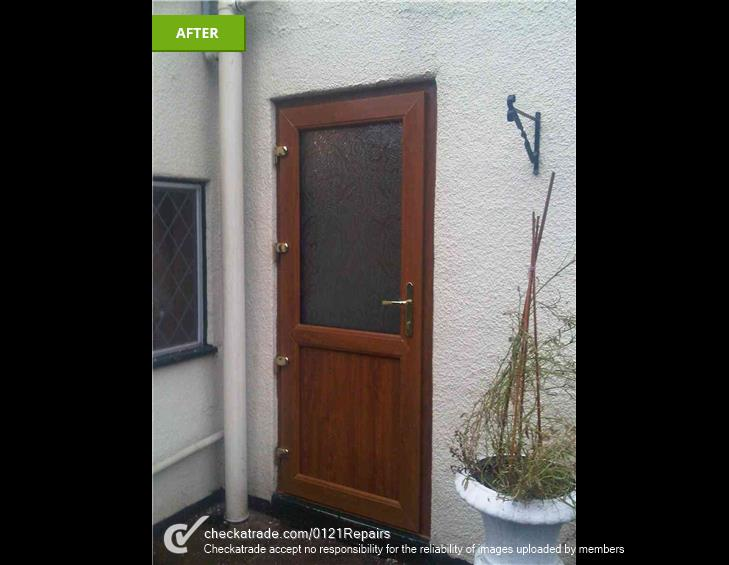 Replaced rear door for light oak UPVC.