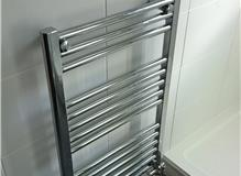 Chrome Towel Rail with Chrome Pipe Work & Tiling