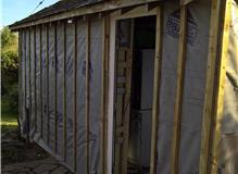 External insulation and baton for bespoke cladding, new door installation