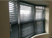 Timberlux wood venetian blinds in a shallow bay